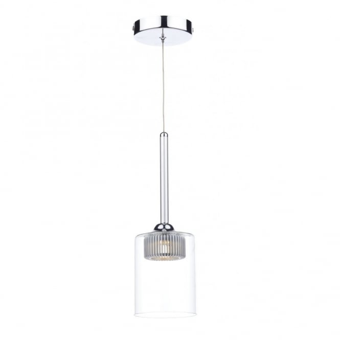The Lighting Book KIRBY contemporary LED polished chrome & clear ceiling pendant