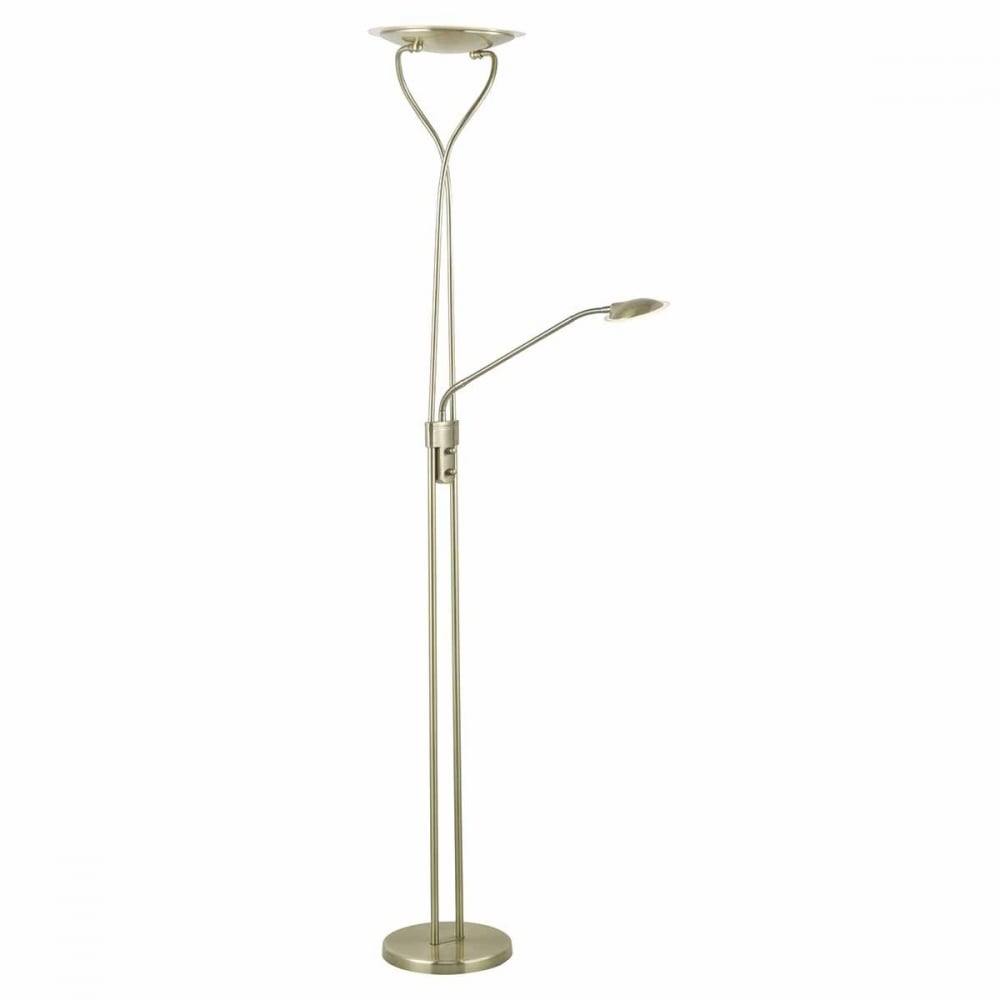 Klaus modern mother and child led floor lamp in antique for Babyliss floor lamp antique brass