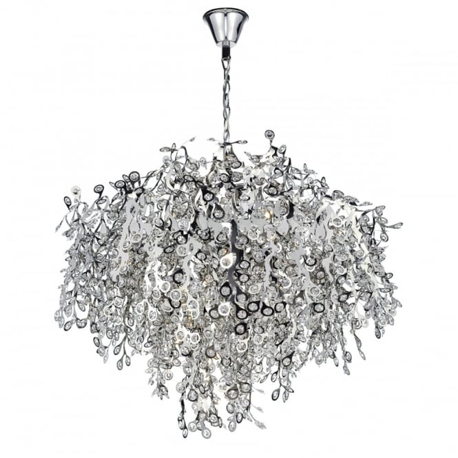The Lighting Book KONSTANTINA 13 light decorative chrome and crystal ceiling pendant