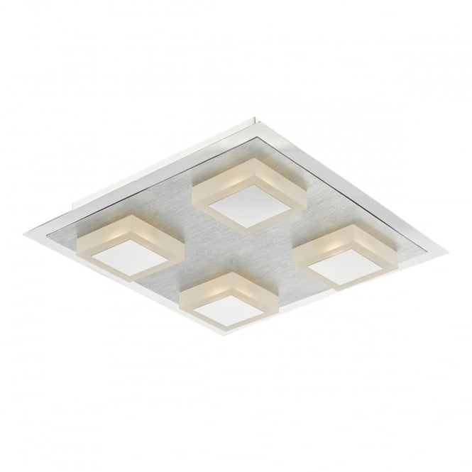 The Lighting Book KRIS modern 4 light LED flush ceiling light in polished and satin chrome finish