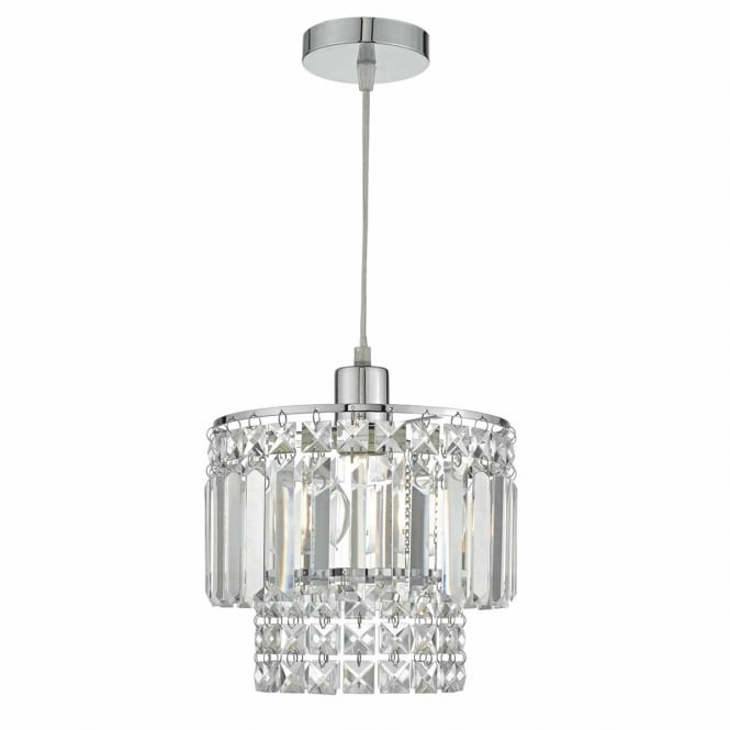 KYLA chrome and crystal glass easy fit pendant shade