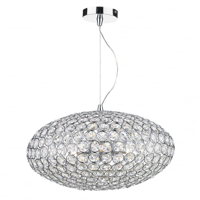The Lighting Book KYRIE 3 light chrome and crystal ceiling pendant