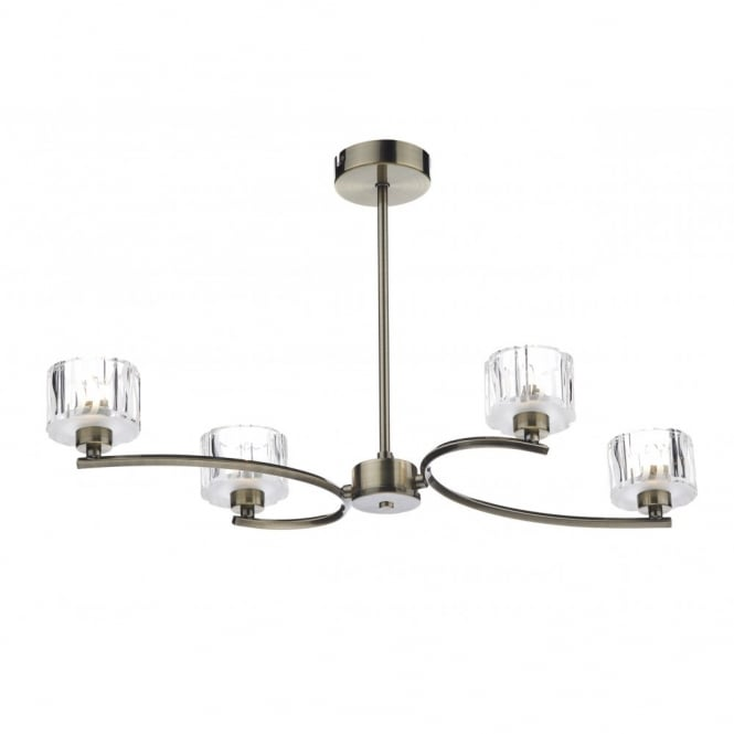 The Lighting Book LAGUNA semi flush antique brass ceiling light (4 light)