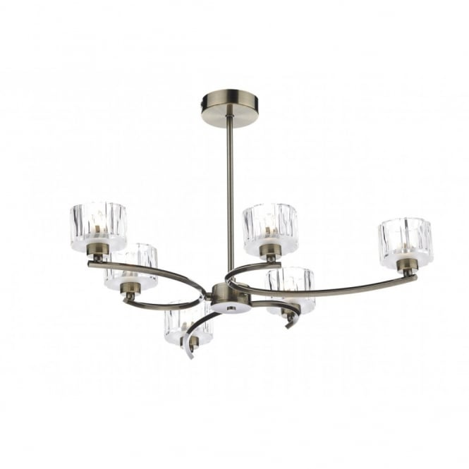 The Lighting Book LAGUNA semi flush antique brass ceiling light (6 light)