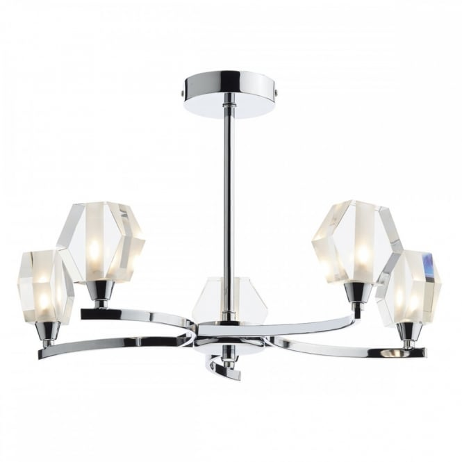 The Lighting Book LANCASTER modern 5 light semi flush in chrome with glass shades