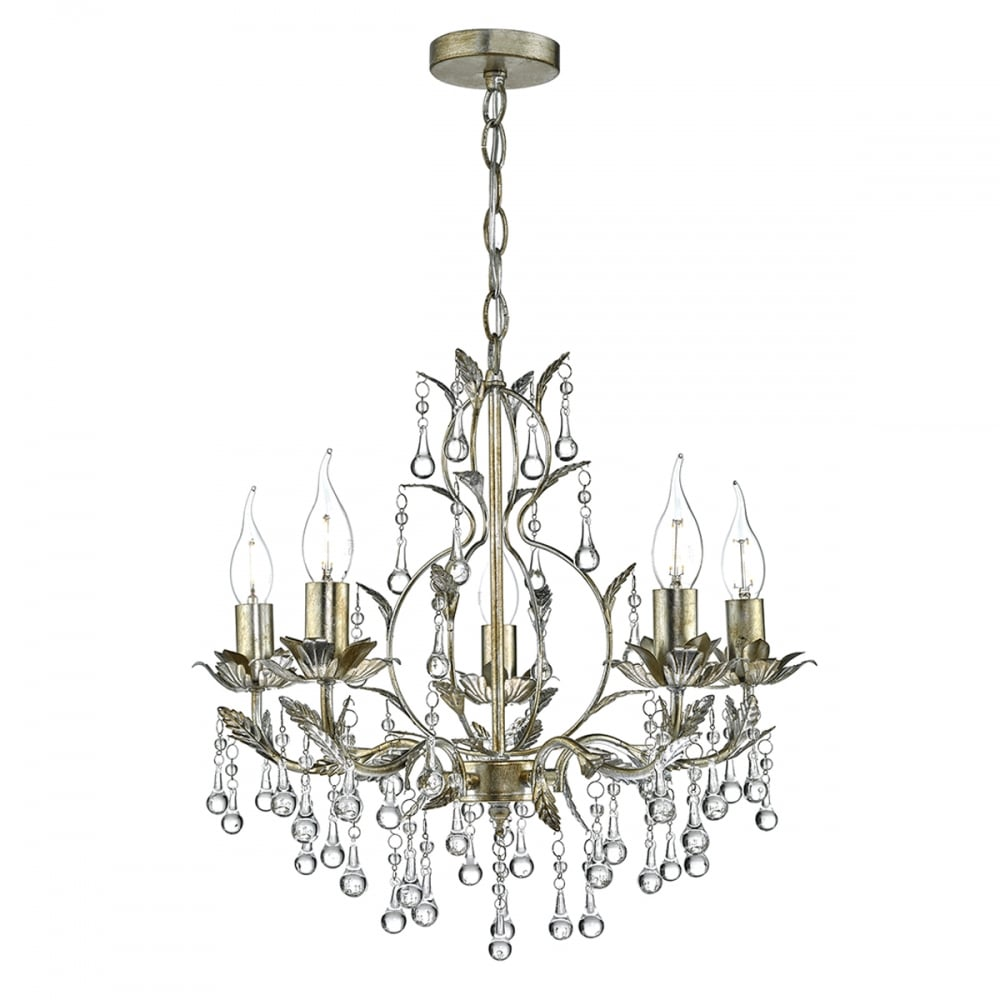 antique gold and distressed silver 5 light chandelier - Decorative Leaf Detail 5 Light Chandelier In Antique Gold And Silver