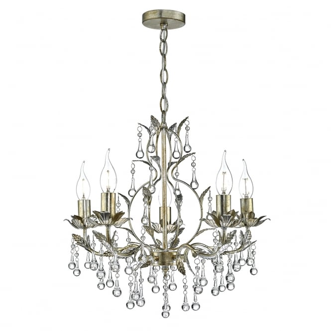 The Lighting Book LAQUILA 5 light distressed gold and antique silver chandelier pendant