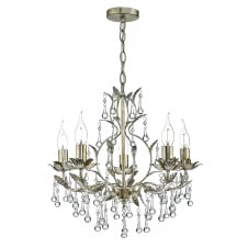 LAQUILA 5 light distressed gold and antique silver chandelier pendant
