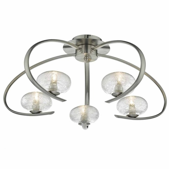 The Lighting Book LEIGHTON modern 5 light semi flush ceiling light in satin chrome