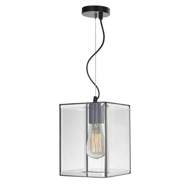 The Lighting Book LENTO modern square lantern pendant in black with bevelled glass