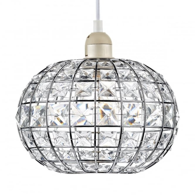 The Lighting Book LETITIA chrome and crystal glass easy fit pendant shade