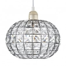 polished chrome and crystal glass easy fit pendant shade