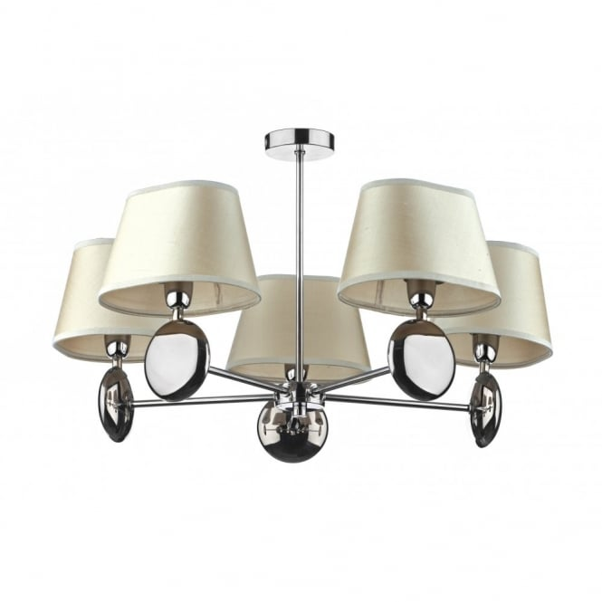 The Lighting Book LEXINGTON chrome light for low ceilings cream shades