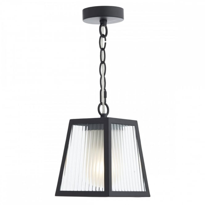 The Lighting Book LIMASSOL matt black outdoor hanging lantern with ribbed glass panels
