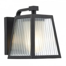 LIMASSOL matt black outdoor wall lantern with ribbed glass panels