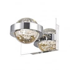 contemporary chrome LED wall light with bubble infused glass