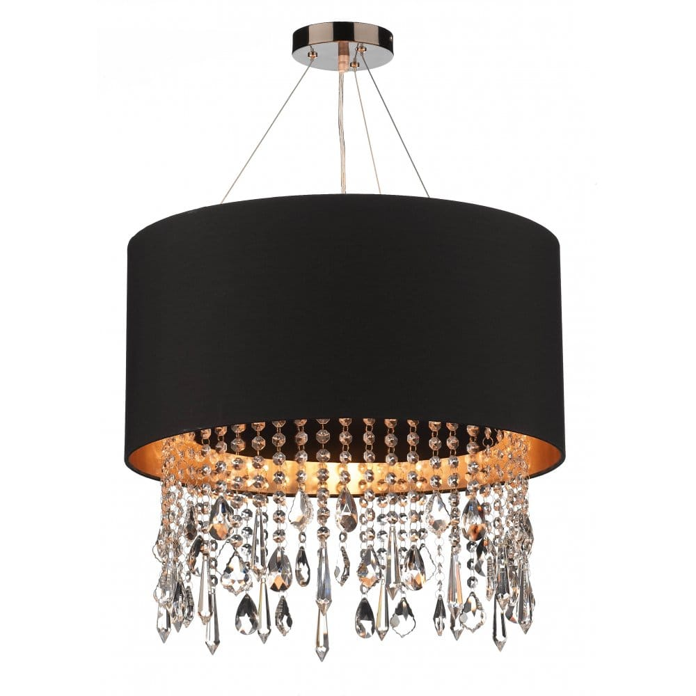 Circular black faux silk pendant light shade on wires crystal beads - Chandelier ceiling lamp ...