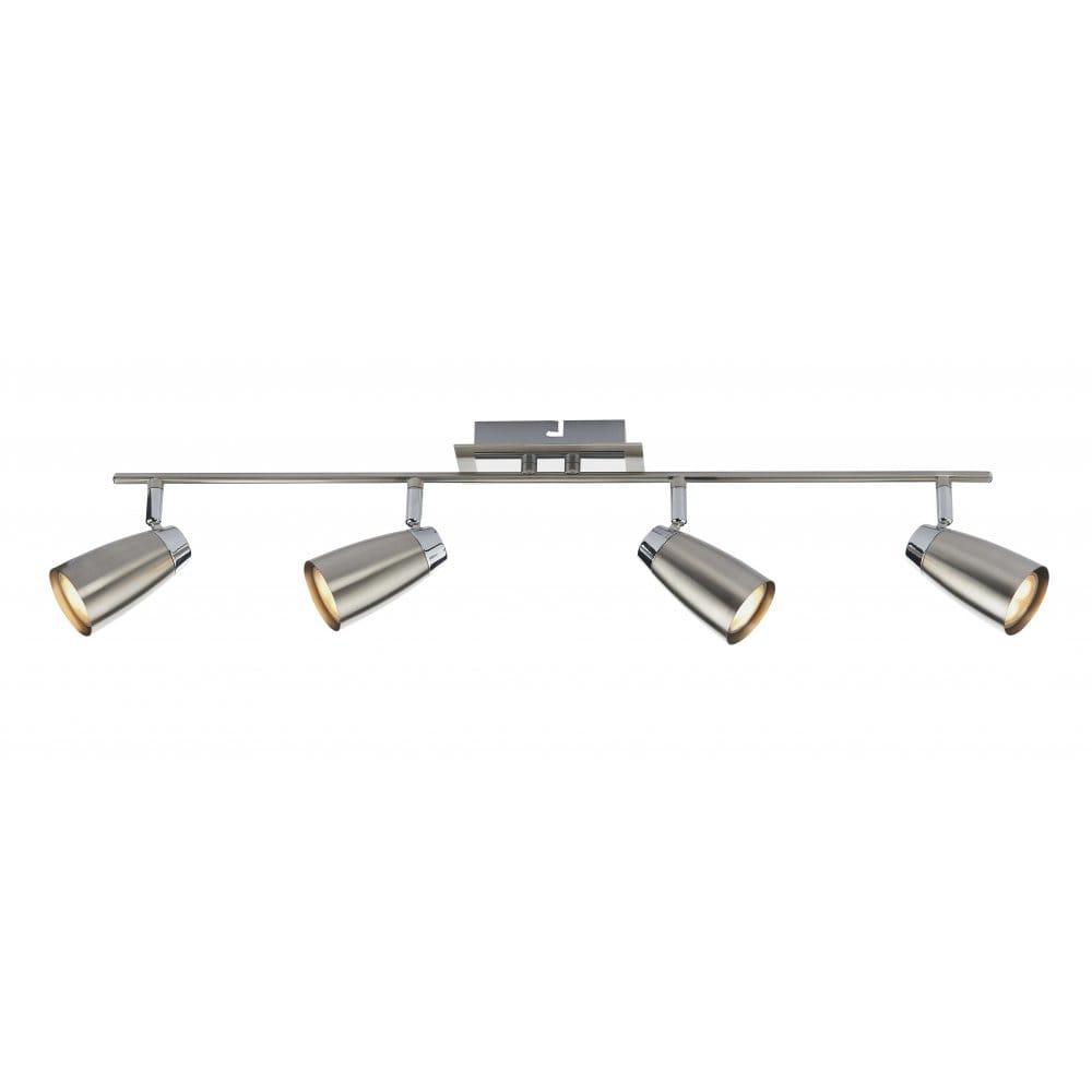 Modern Ceiling Spot Light Bar Satin Chrome Amp Chrome Double Insulated