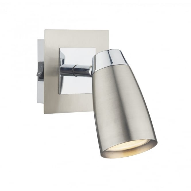 The Lighting Book LOFT double insulated low energy satin chrome wall spotlight