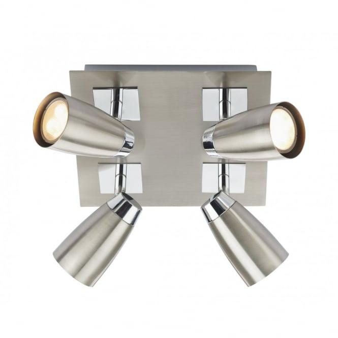 modern spot lighting. LOFT Satin Chrome Square Plate Ceiling Spot Lights 4lt Modern Lighting