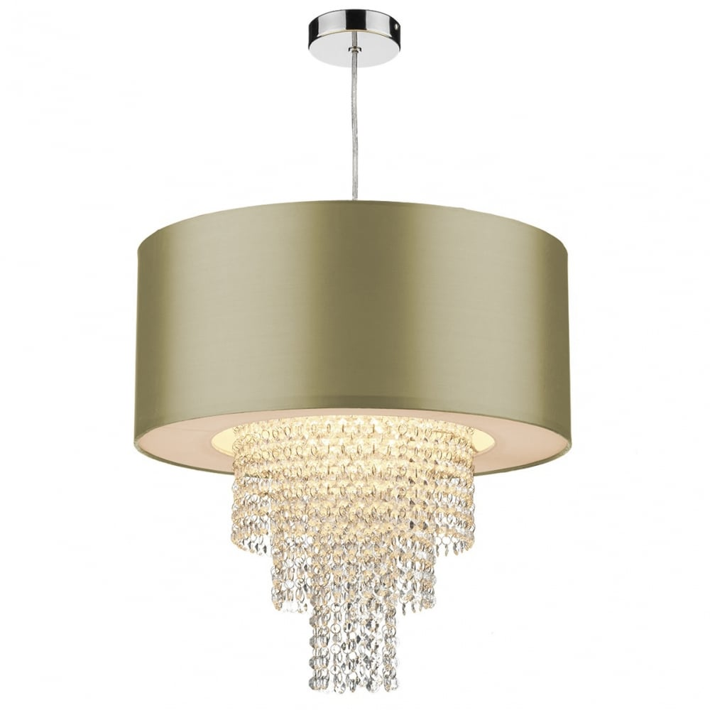 Lopez Easy Fit Non Electric Gold Faux Silk Ceiling Shade
