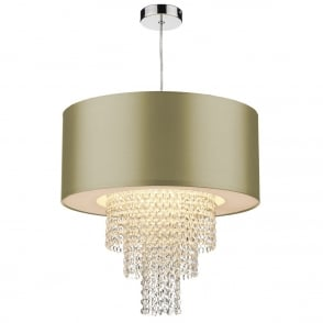 The Lighting Book LOPEZ easy fit non electric gold faux silk ceiling light shade