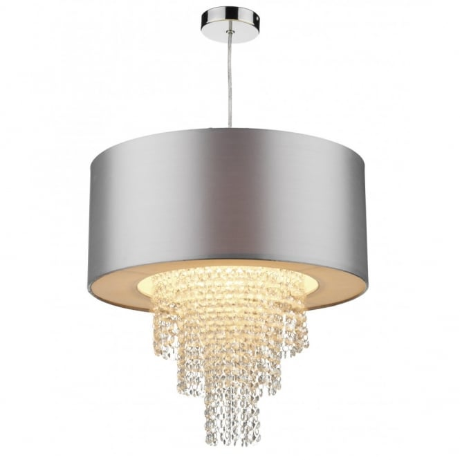 Lopez easy fit non electric silver faux silk ceiling shade lopez easy fit silver faux silk ceiling light shade aloadofball Image collections