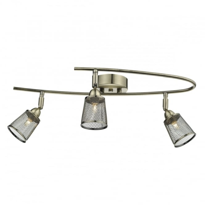 LOWELL 3 light antique brass semi flush ceiling light with mesh shades
