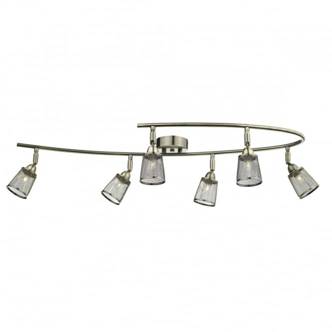 The Lighting Book LOWELL 6 light antique brass semi flush ceiling light with mesh shades