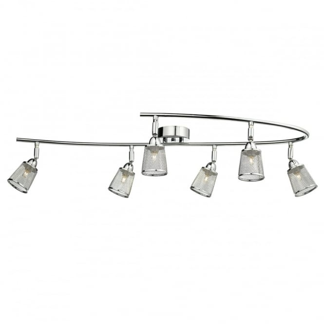 The Lighting Book LOWELL 6 light polished chrome semi flush ceiling light with mesh shades