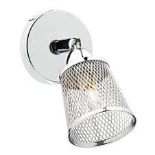 LOWELL modern polished chrome wall light with metal basket weave shade