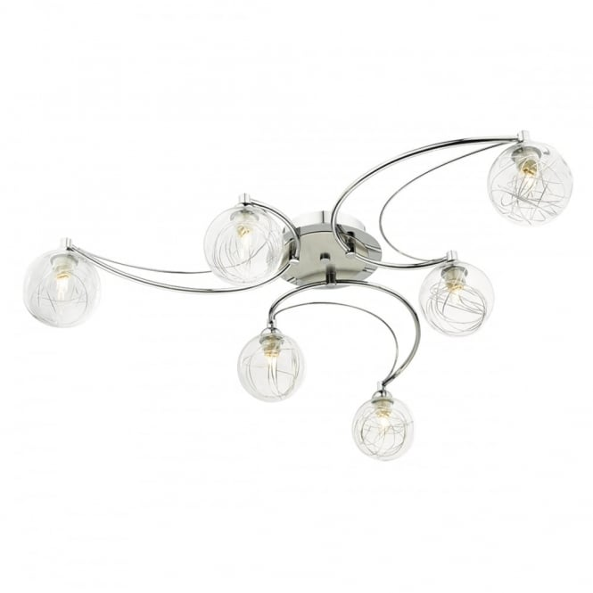 The Lighting Book LOZANNE 6 light polished chrome semi flush ceiling light with glass shades
