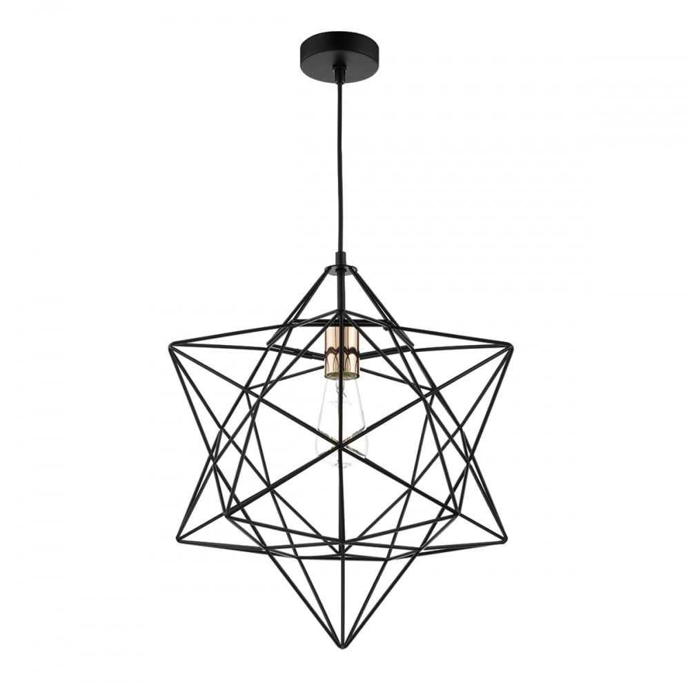 Contemporary Matte Black Star Shaped Wire Frame Ceiling ...