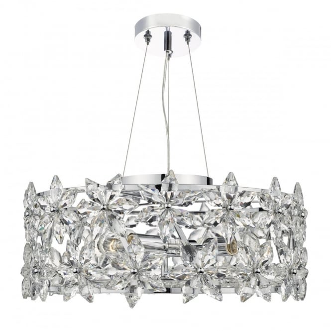 The Lighting Book LUELLA decorative 4 light ceiling pendant with crystal flower design