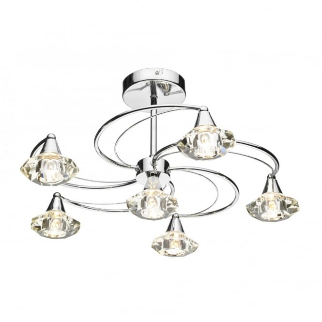 The Lighting Book LUTHER 6 bulb polished chrome & crystal semi-flush ceiling light