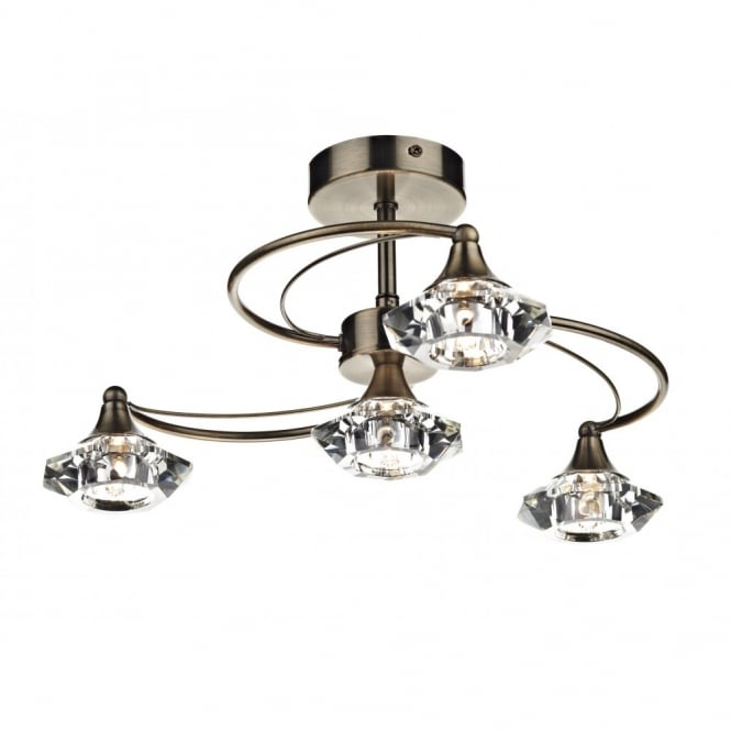 The Lighting Book LUTHER antique brass & crystal glass semi flush ceiling light