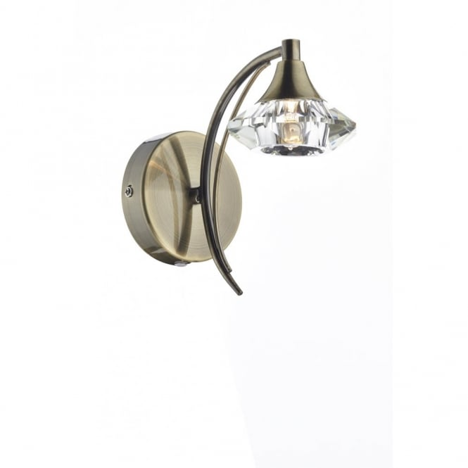 The Lighting Book LUTHER antique brass & crystal glass single wall light