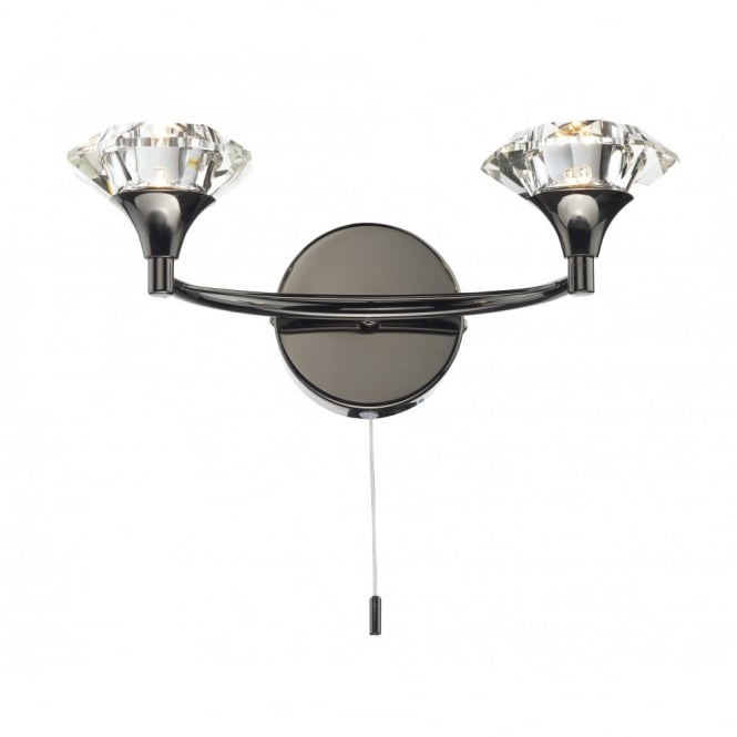 LUTHER black chrome & crystal glass double wall light
