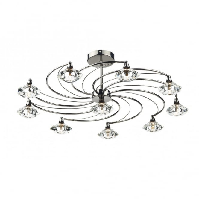 The Lighting Book LUTHER black chrome & crystal glass semi flush ceiling light 10lt