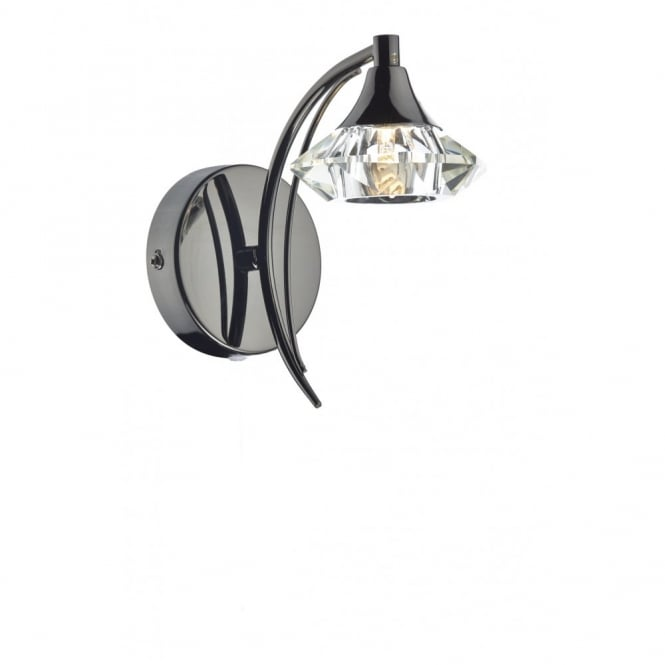 The Lighting Book LUTHER black chrome & crystal glass single wall light
