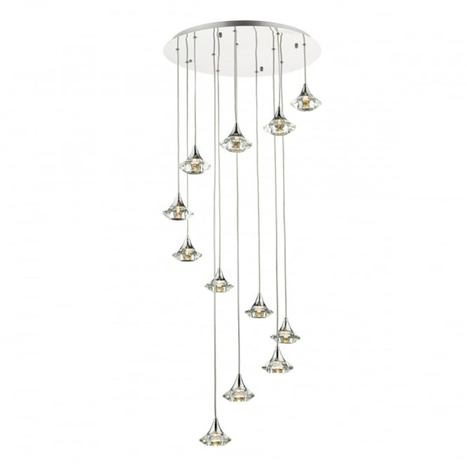 The Lighting Book LUTHER modern 12 light spiralling ceiling pendant with crystal glass shades