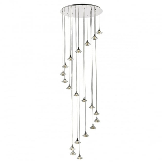 The Lighting Book LUTHER modern 20 light spiralling ceiling pendant with crystal glass shades