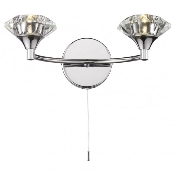The Lighting Book LUTHER Polished chrome & crystal glass double wall light
