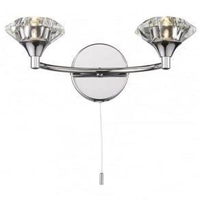 Modern chrome double wall light with pull cord switch luther polished chrome crystal glass double wall light aloadofball Image collections