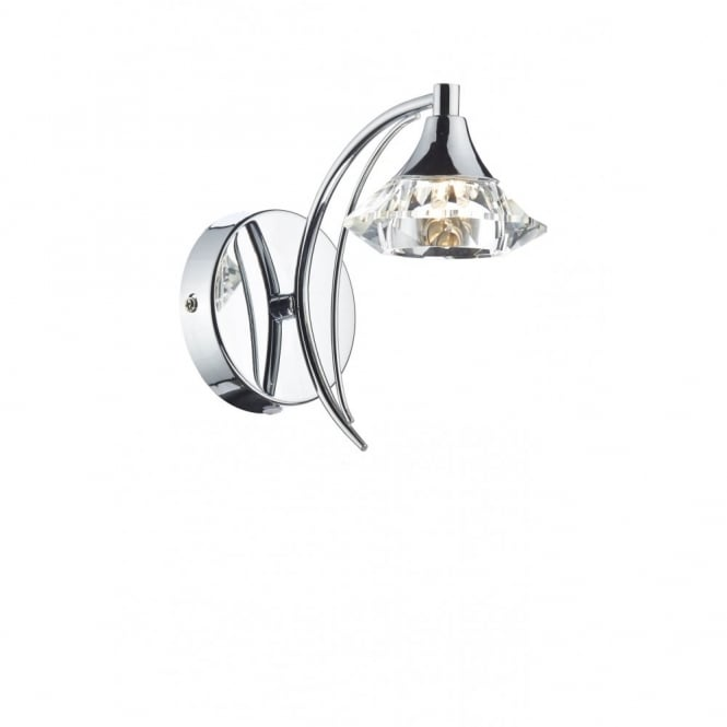 LUTHER polished chrome & crystal glass single wall light