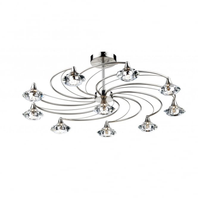 The Lighting Book LUTHER satin chrome & crystal glass semi flush ceiling light 10lt