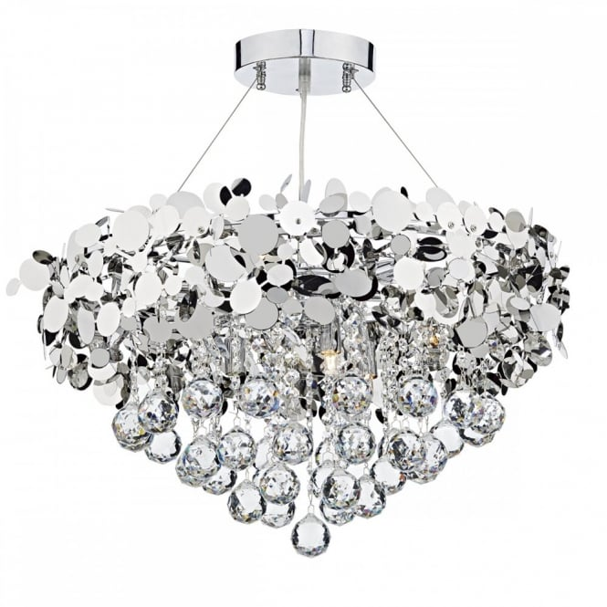 semi flush modern crystal ceiling light fitting double insulated