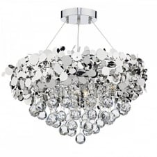 LUXOR modern decorative 9 light chrome & crystal ceiling pendant