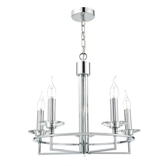 LUZERN contemporary polished chrome 5 light ceiling pendant