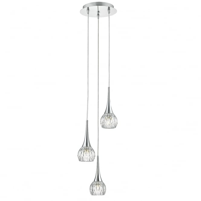 The Lighting Book LYALL modern 3 light cluster pendant in chrome with cut glass style shades